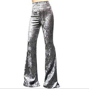 Pants - Dark silver gray velvet bell bottom pants festival